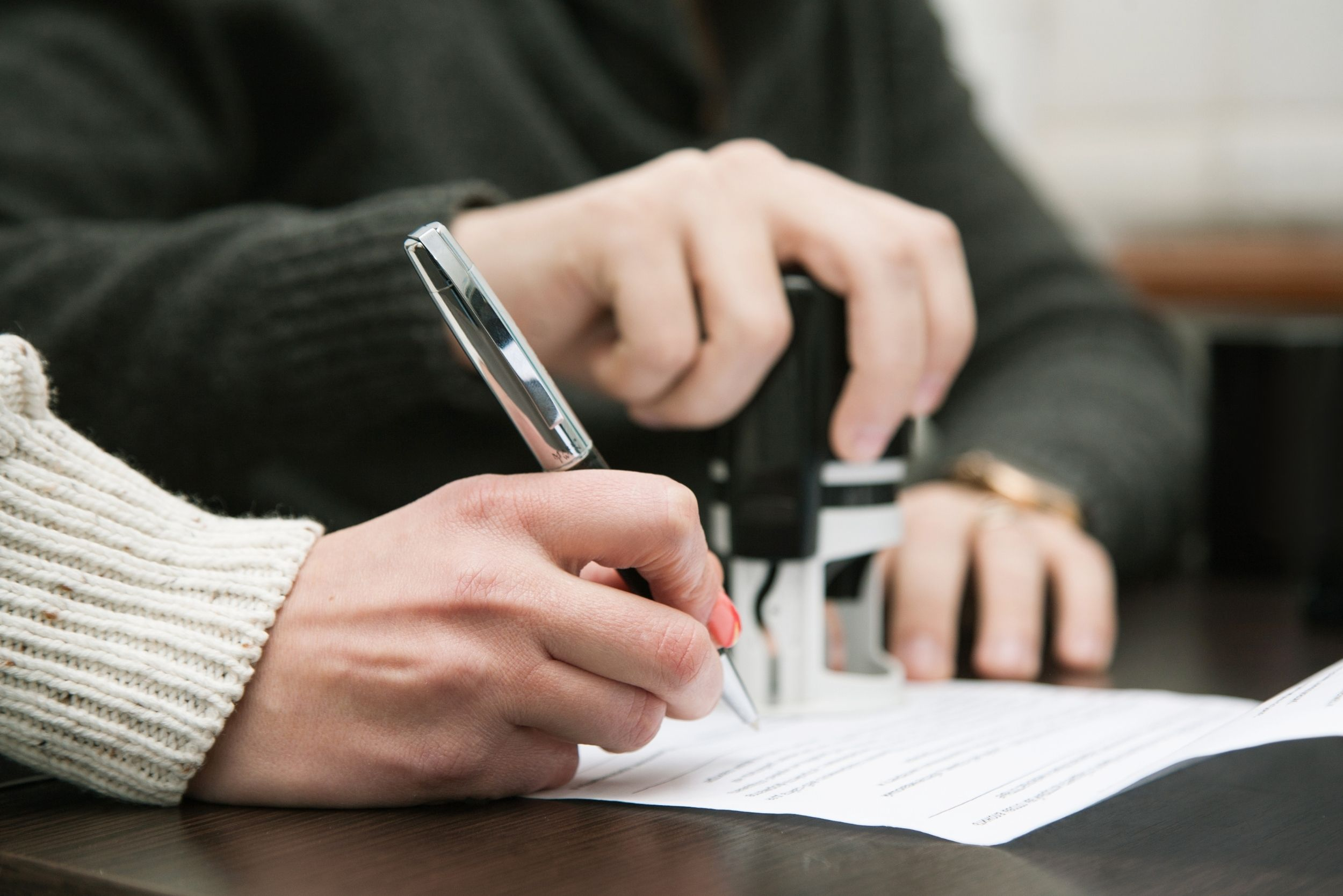 Office Notary woman signing